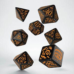Halloween Pumpkin Dice Set: Black & Orange