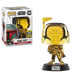 Pop! Star Wars Vinyl Bobble-Head Boba Fett (Gold Chrome) #297 2019 Galactic Convention Exclusive