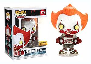Pop! Movies IT Chapter Two Vinyl Figure Pennywise with Skateboard #778 Hot Topic Exclusive