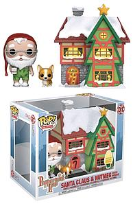 Pop! Town Christmas Peppermint Lane Vinyl Figure Santa Claus & Nutmeg with House #01