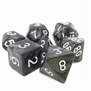 RPG 7-Dice Set: Opaque Black Pearl Shadow Strike