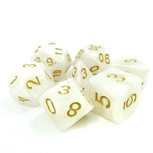 RPG 7-Dice Set: Opaque White Pearl Divine Light
