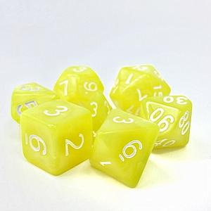 RPG 7-Dice Set: Opaque Yellow Pearl Golden Charm