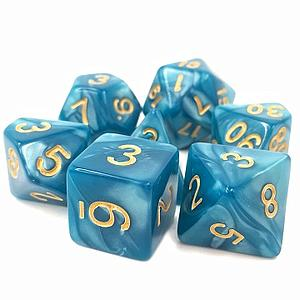 RPG 7-Dice Set: Opaque Blue Pearl Sleepy Sky