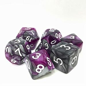 RPG 7-Dice Set: Fusion Purple/Silver Kings Purser