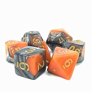RPG 7-Dice Set: Fusion Orange/Silver