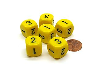 Opaque 16mm 1D3 Dice - Yellow/Black
