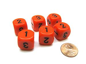 Opaque 16mm 1D3 Dice - Orange/Black