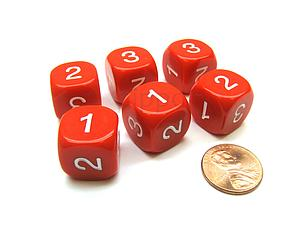 Opaque 16mm 1D3 Dice - Red/White