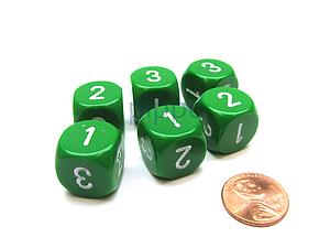 Opaque 16mm 1D3 Dice - Green/White