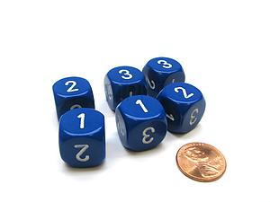 Opaque 16mm 1D3 Dice - Blue/White