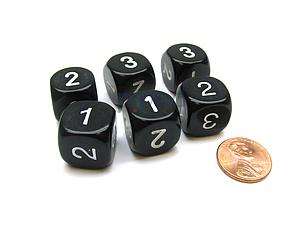 Opaque 16mm 1D3 Dice - Black/White