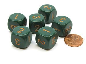 Opaque 16mm 1D3 Dice - Dusty Green/Cooper