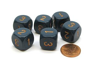 Opaque 16mm 1D3 Dice- Dusty Blue/Cooper