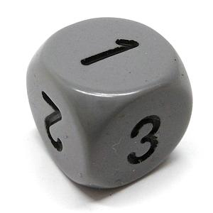 Opaque 16mm 1D3 Dice - Grey/Black
