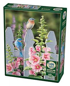 Puzzle: Bluebirds and Hollyhocks