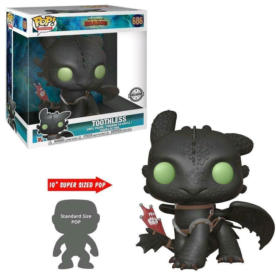 "Pop! Movies How to Train Your Dragon 3 The Hidden World Vinyl Figure 10"" Toothless #686 Special Edition Exclusive"