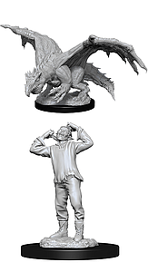 Dungeons & Dragons Nolzur's Marvelous Unpainted Miniatures: Green Dragon Wyrmling and Afflicted Elf