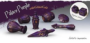 PolyHero Dice: The Rogue 7-dice Set - Palace Purple & Gilded Gold