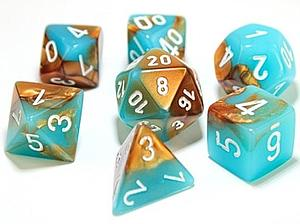 Gemini Dice 7-Piece Polyhedral Set - Copper-Turquoise/White