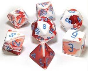 Gemini Dice 7-Piece Polyhedral Set - Red-White/Blue