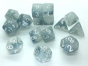 Set of 15 Dice: Polyhedral Ghostly Grudge w/ White Numbers