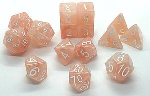 Set of 15 Dice: Polyhedral Pixie Wings w/ White Numbers