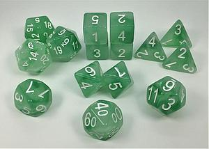 Set of 15 Dice: Polyhedral Dryad's Grove w/ White Numbers