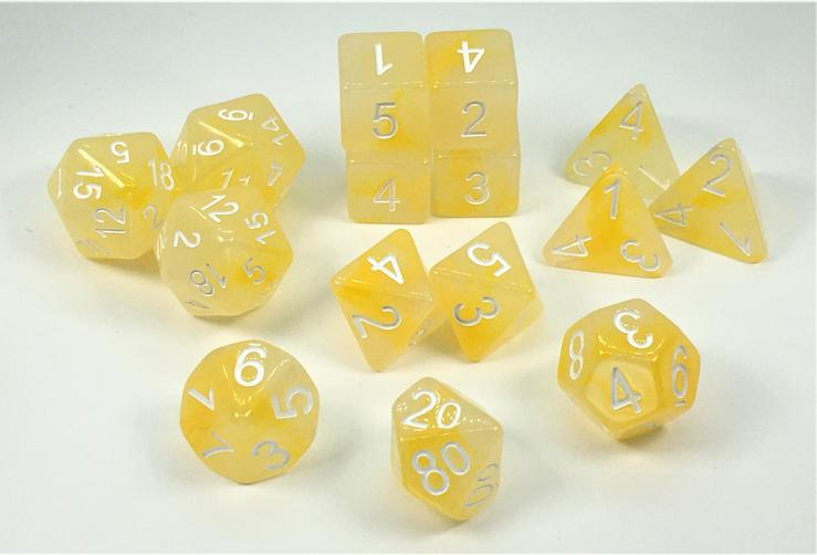 Set of 15 Dice: Polyhedral Will-o-Wisp w/ White Numbers