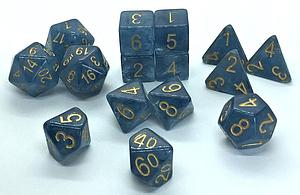 Set of 15 Dice: Polyhedral Blue Jade Shoes w/ Gold Numbers