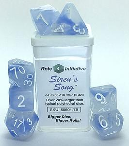 Set of 7 Dice: Polyhedral Siren's Song w/ White Numbers