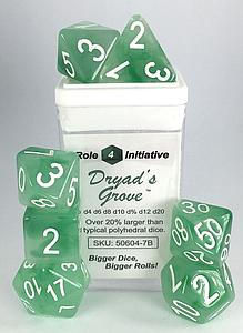 Set of 7 Dice: Polyhedral Dryad's Grove w/ White Numbers