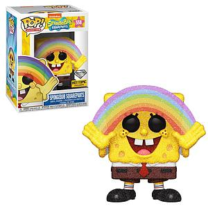 Pop! Animation Spongebob Squarepants Vinyl Figure Spongebob Squarepants (Rainbow) (Diamond Collection) #558 Hot Topic Exclusive