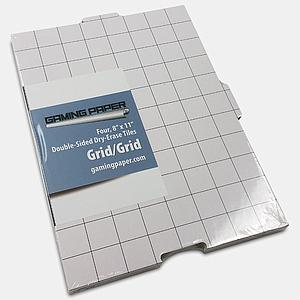 "Set of 4 Gaming Paper Tiles 8"" x 11"": Grid/Grid"
