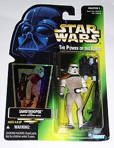 "Star Wars The Power of the Force 3.75"" Action Figure Sandtrooper with Heavy Blaster Rifle"