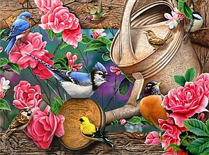 SUNSOUT Puzzle 1000 Piece Watering Can Birds (49016)