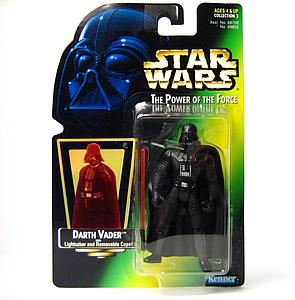 "Star Wars The Power of the Force 3.75"" Action Figure Darth Vader with Lightsaber and Removable Cape (Green Card)"