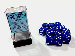 Dice 12D6 Set - Opaque Blue w/White
