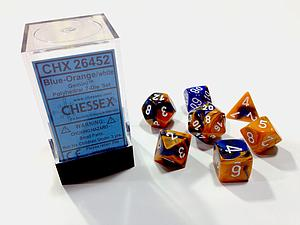 Dice 7-Piece Polyhedral Set - Gemini Blue Orange White