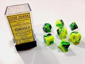 Dice 7-Piece Polyhedral Set - Gemini Green Yellow Silver
