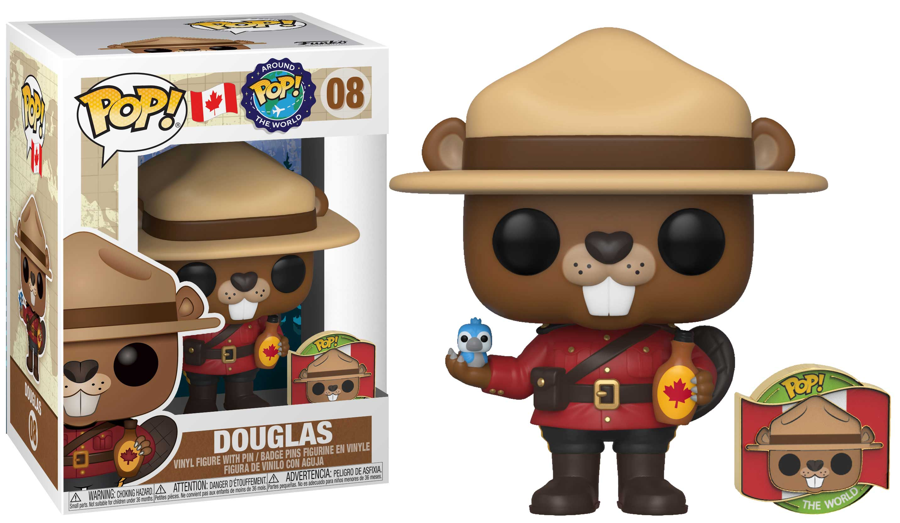 Pop! Around the World Vinyl Figure Douglas with Pin #08 Canada Exclusive