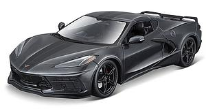 MAISTO 1:18 Scale Diecast Special Edition 2020 Chevrolet Corvette Stingray Coupe (Metallic Gray with Stripe)
