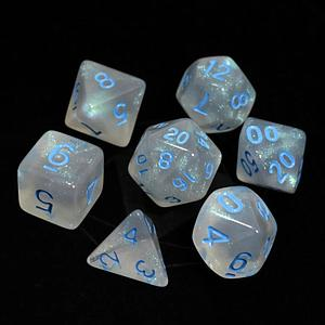 Poly RPG 7-Dice Set: Glacial Moonstone with Blue