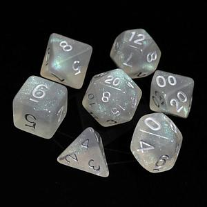 Poly RPG 7-Dice Set: Glacial Moonstone with Silver