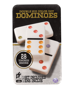 Double Six Color Dot Dominoes Tin