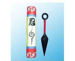 Naruto Cosplay Prop Kunai (Metal) with Scroll Tube