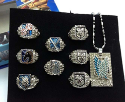 Attack on Titan 10-Piece Ring & Necklace: Military