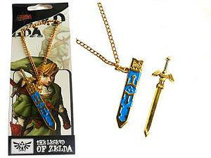 Legend of Zelda Necklace Master Sword in Sheath (Gold&Blue)