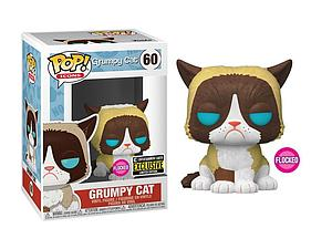 Pop! Icons Grumpy Cat Vinyl Figure Grumpy Cat Flocked #60 Entertainment Earth Exclusive
