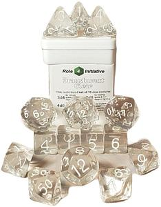 Set of 15 Dice: Polyhedral Translucent Clear with White Numbers